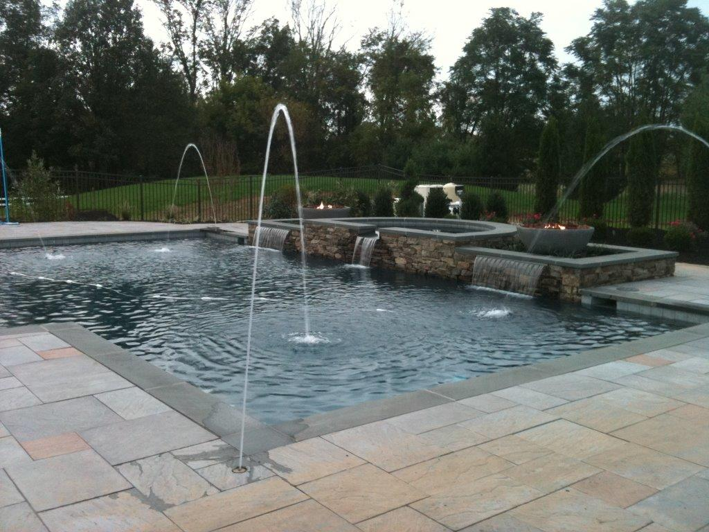 Bluestone Drop Face Pool Coping Pavers with Granite Pool Paving