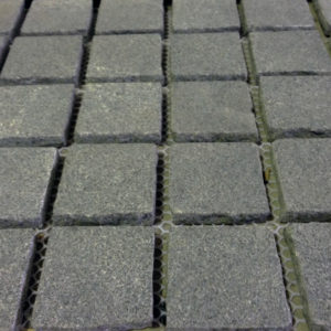 Flamed Basalt Cobblestone Pavers on Mesh