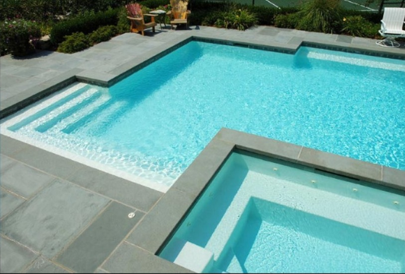 Cheap blue stone pavers and tiles for Piscine blue design