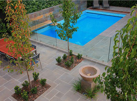 Flamed basalt pavers 2 exfoliated basalt pavers Flagstone pavers around pool