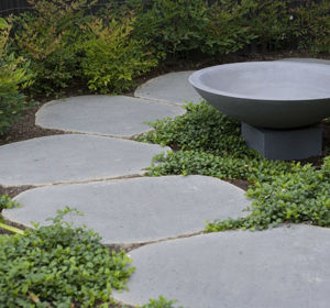 Natural harkaway bluestone sawn and lightly honed stepping stones cut from bluestone boulders