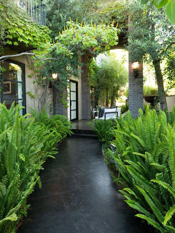 Garden path black outdoor tiles pavers