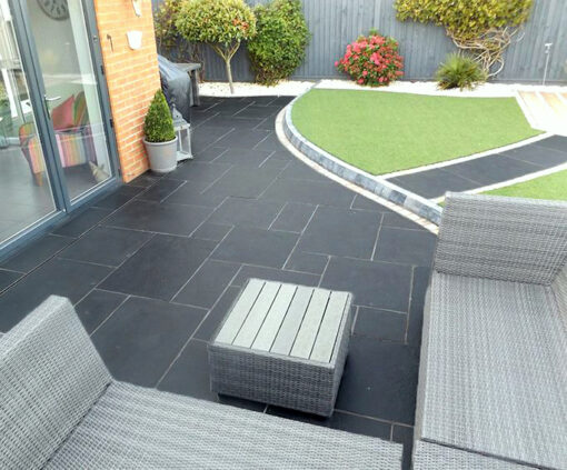 Blue limestone french pattern tiles and pavers